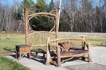 Rustic adirondack style twig and birch furniture home design idea - Adirondack bed frame ...
