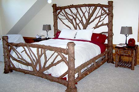 Adirondack rustic bed frames birch abrk dressers rustic bedframes furnishings outdoor Adirondack bed frame