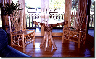 Pine Top Round Top Table with Cedar Chairs